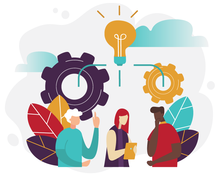 Illustration of people working together around a single idea