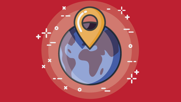earth with location pin