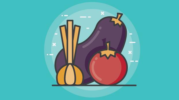 eggplant, tomato, garlic