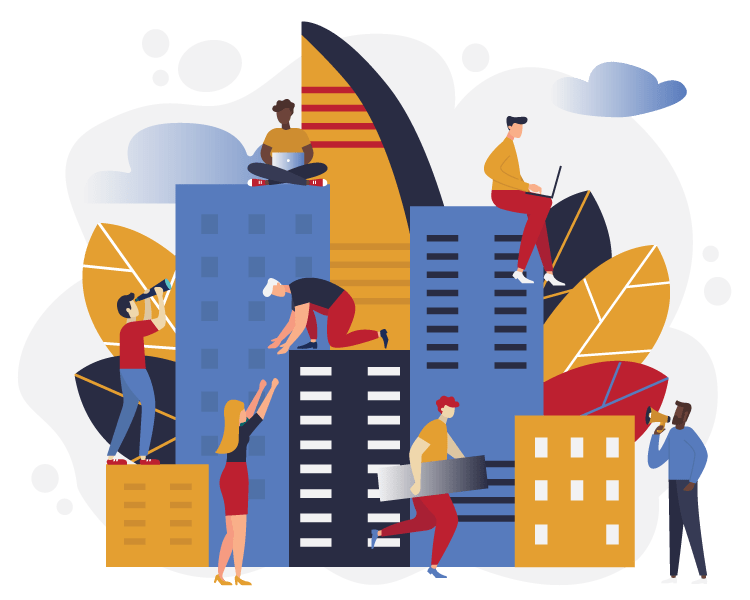 Illustration of people sitting on office building and helping each other