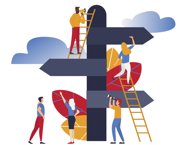 Illustration of people climbing a direction street sign with ladders