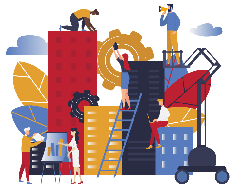 Illustration of people working on and around buildings