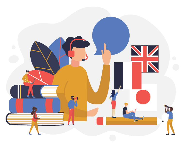Illustration of person with headset surrounded by books and flags