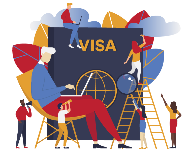 Illustration of people working around visa
