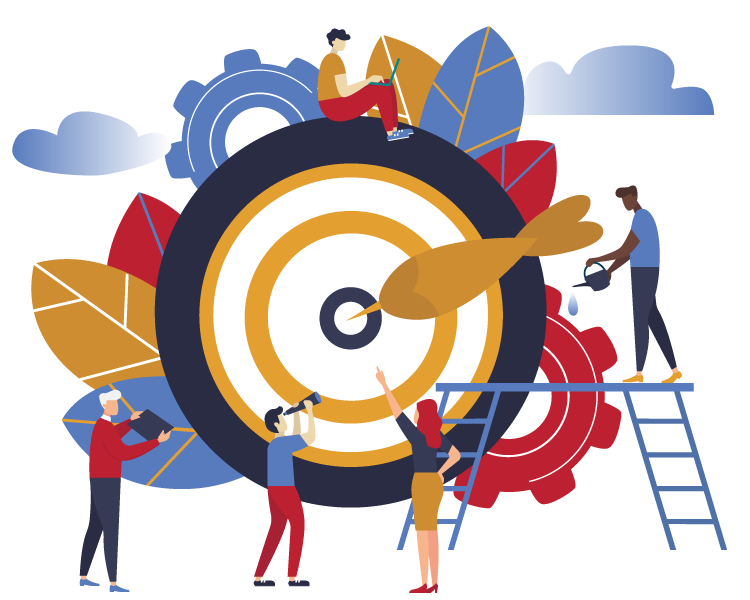 Illustration of people standing around bulls eye