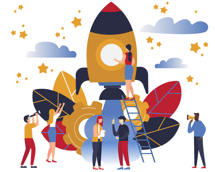 Illustration of people standing around spaceship