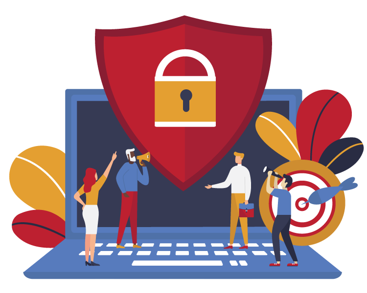 Illustration of people pointing at lock and shield in front of laptop