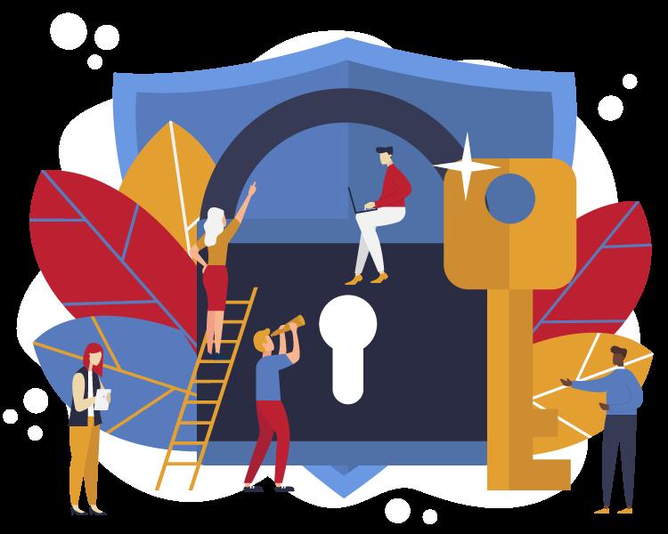 Illustration of people working around shield lock key