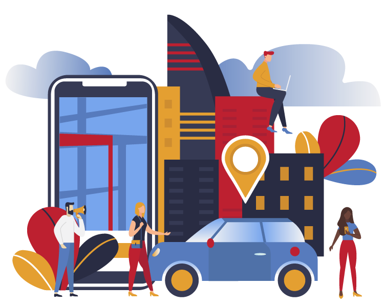 Illustration of mobile phone buildings car