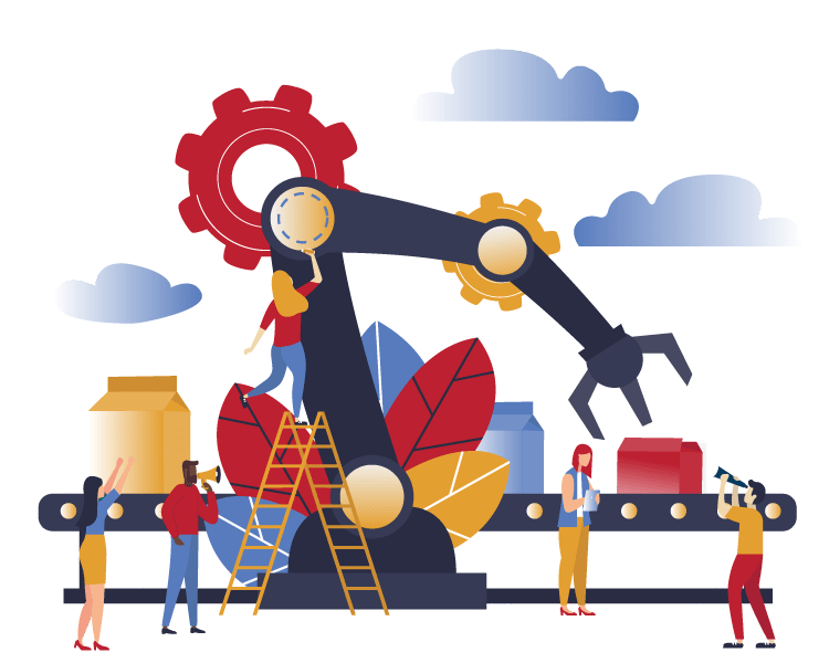Illustration of people and mechanical arm working on conveyor belt