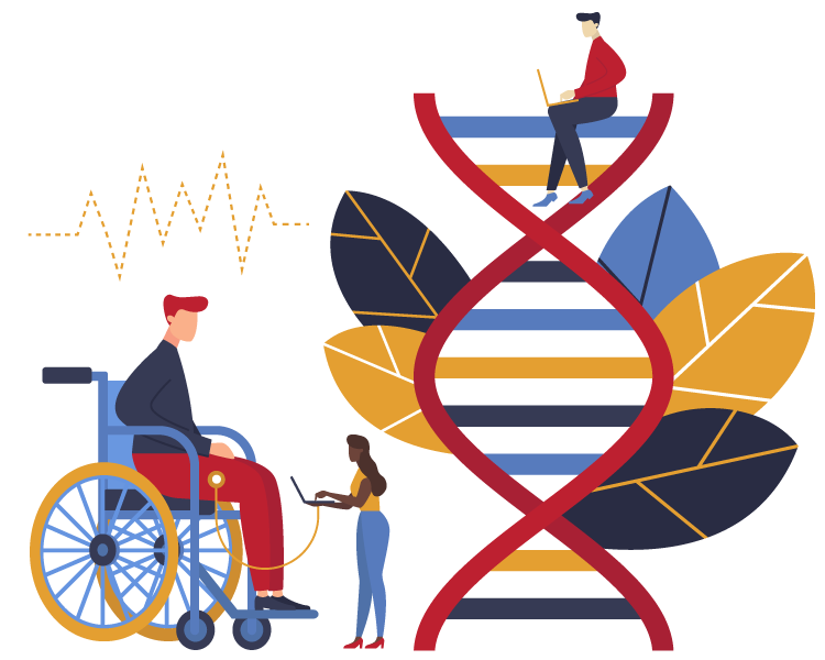 Illustration of person in wheelchair and string of dna