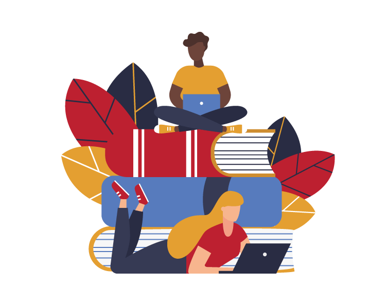 Illustration of 2 people with computers sitting around a pile of books