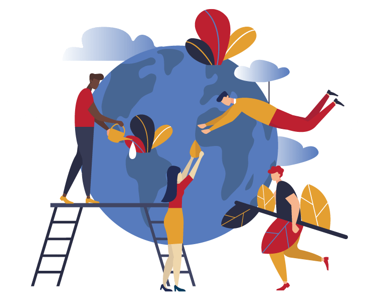 human beings building and decorating the globe
