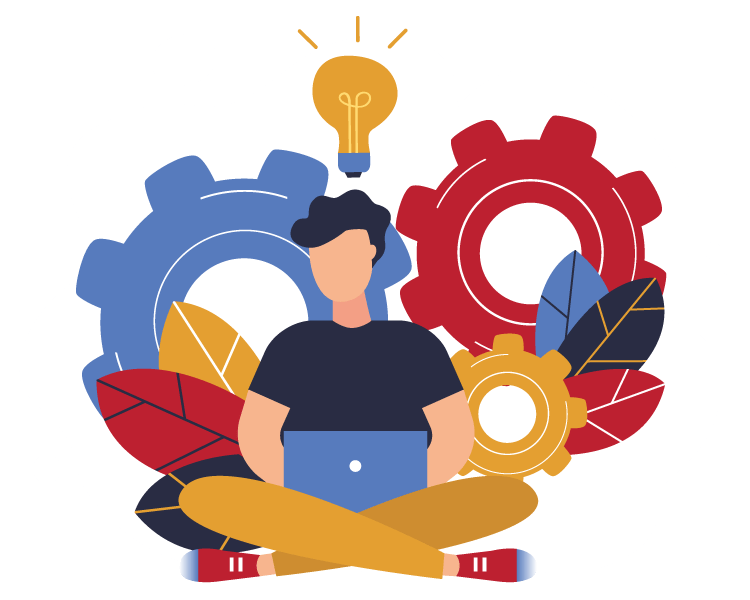 illustration of guy focused on using his computer with gears in the background