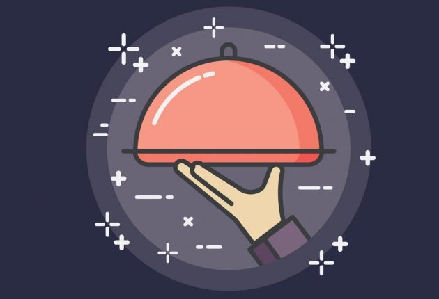 Illustration of hand holding platter