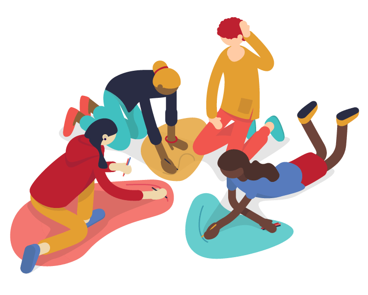 4 People painting together on the ground