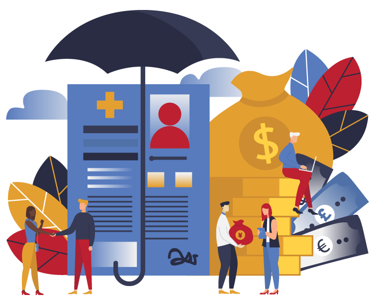 Illustration of resume under umbrella and bag of mone