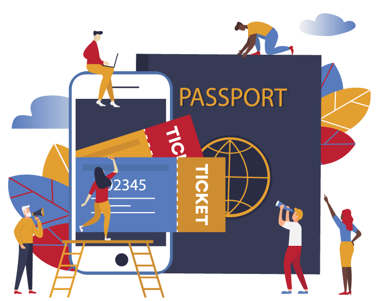 Illustration of people with cellphone, passport, tickets