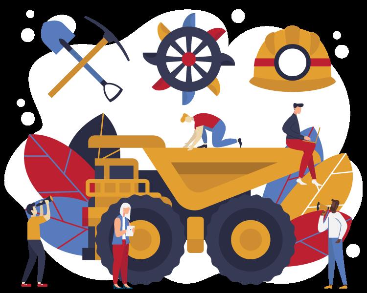 shovel, pickax,helmet, haul truck, mining