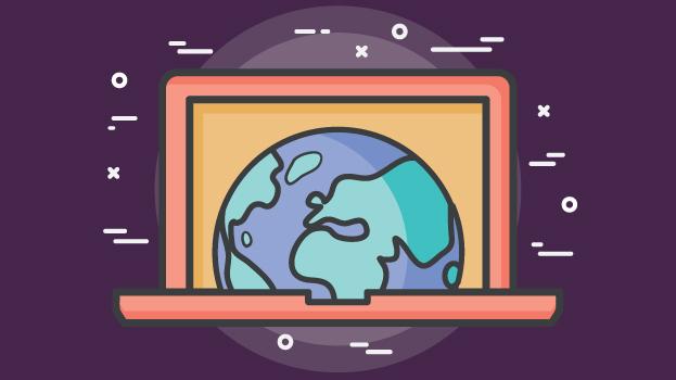 laptop displaying the world