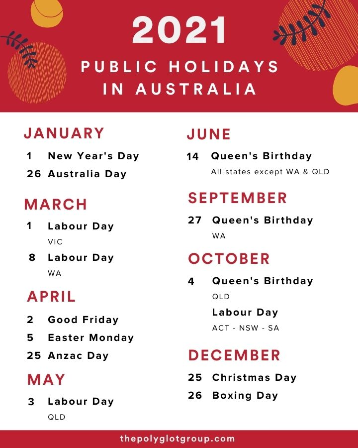 Public Holidays Australia 2021